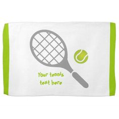 Tennis racket and ball custom kitchen towel