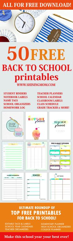 View this complete back to school printables list for your organizing needs. School calendars planners and labels are included! Student Teacher Binder, Teacher Planner, Teacher Letters, New School Year, First Day Of School, Back To School Printables, School Organization, Organizing, Bujo