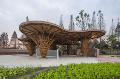 atelier REP's bamboo garden rejuvenates the countryside in china - the project reflects an important structural typology for country life, agriculture and landscape a - Landscape Curbing, Backyard Garden Landscape, Small Backyard Gardens, Garden Landscaping, Large Backyard, Garden Pool, Chengdu, Curved Patio, Bamboo Building