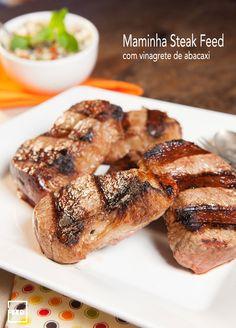 MAMINHA STEAK FEED NA GRELHA COM VINAGRETE DE ABACAXI - E quem gostou da Maminha em Tira Feed também vai gostar dessa versão do tradicional corte. A Maminha Steak Feed facilita a vida de quem adora o corte mas acha complicado fazê-lo na grelha. Assim cortada, em bife altos, ela fica perfeita e muito simples de fazer na grelha.  Saiba como preparar esta receita no link: http://www.feed.com.br/receitas/maminha-steak-feed-na-grelha-com-vinagrete-de-abacaxi/