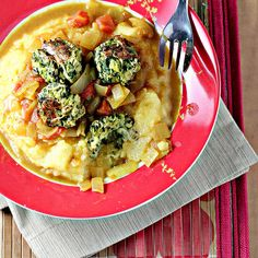 "Zucchini ""Meatballs"" and Curry-Tomato Sauce Over Polenta...Eat.Live.Be. 
