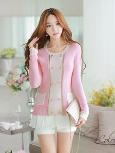 Morpheus Boutique  - Pink White Double Breasted Knit Long Sleeve Sweater