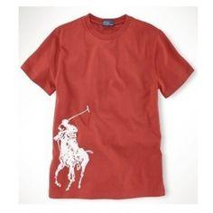 Ralph Lauren Men White Big Pony Short Sleeved Red Polo http://www.