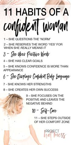 Self confidence isn't something you just 'have'. It's something that takes work to achieve and then it's something you need to make a habit. Here are the top 11 habits of a confident woman - how many of these habits do you have? Building Self Confidence, Self Confidence Tips, How To Have Confidence, Confidence Boosters Quotes, Quotes On Confidence, Increase Confidence, Body Confidence, Good Habits, Healthy Habits
