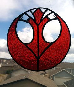 "Real Stained Glass 8"" Diameter Textured Red and Clear Star Wars Rebel Alliance Insignia Suncatcher"