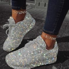 Keep shining  ———————————————————————————– Tag ur friends and le… Sparkly Shoes, Bling Shoes, Glitter Tennis Shoes, Bling Bling, Dad Sneakers, White Sneakers, Sneakers Fashion, Fashion Shoes, Adidas Fashion