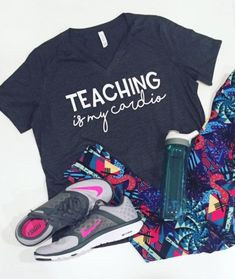 Teaching Is My Cardio Tee by MadisonMarketDesigns on Etsy - mens cotton shirts, awesome shirts, mens blue floral shirt *ad