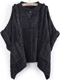 Batwing Sleeve Cable Knit Cardigan