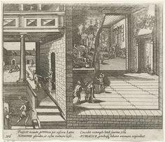 Anonymous | De moord op Willem van Oranje, 1584, Anonymous, Frans Hogenberg, 1613 - 1615 | Willem van Oranje vermoord door Balthasar Gerards, 10 juli 1584. Gezicht op interieur Prinsenhof: achter ontvangt de prins Gerards in een kamer, op de voorgrond wordt de prins neergeschoten. Links probeert Gerard te ontsnappen en wordt hij gevangengenomen. Met onderschrift van 4 regels in het Latijn. Genummerd 156. Bedrukt op achterzijde met tekst in het Latijn.