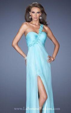 Lace Asymmetrical Gown by La Femme 19793
