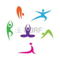 cartoon yoga: set of icons - Yoga Illustration