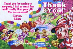 Candyland Thank you note cards birthday supplies personalized.