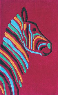 The Rug Market Kids Multi Zebra 74044 Magenta and Brown and Blue area rug