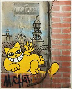 artiste contemporain M. Chat, oeuvre avec le titre Défense d'afficher, une peinture qui imite le style des murs urbains, avec les grafittis Pop Art, Art En Ligne, Sculpture, Street Art Graffiti, Oeuvre D'art, Les Oeuvres, Tweety, Fictional Characters, Painting Styles