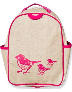 Pink Birds toddler backpack, soyoung.ca, $44.99.