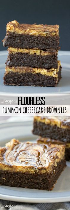 Fudgy flourless brownies topped with pumpkin cheesecake — a naturally gluten free treat that's perfect for Thanksgiving or the holidays!