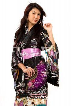 kimono Longo Preto Gueixa