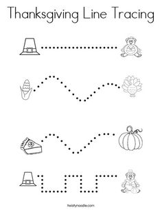 Thanksgiving Line Tracing Coloring Page - Twisty Noodle