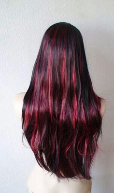 Black hair red highlights google search hairstyles pinterest black hair with burgundy red highlight wig long by kekeshop i like the red more away from my scalp pmusecretfo Images