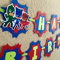 Pj Masks Birthday Pj Masks Birthday Banner Pj by LisasPartyShoppe