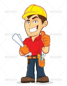 Construction Worker Clipart picture of a construction worker cartoon character Created: 3 December 13 Graphics Files Included: Transparent PNG Image EPS Illustrator Layered: Yes Minimum Adobe CS Version: CS Tags architect . Cartoon Man, Cartoon Pics, Cartoon Characters, Engineer Cartoon, Handyman Logo, Man Clipart, Garage Art, Hard Hats, Cool Ideas