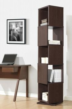 Katrina Modern & Contemporary 5-Partition Rotating Shelving Unit - Dark Brown by Wholesale Interiors on @HauteLook