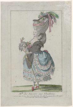 Suite consacrée aux élégantes et petits maîtres, 1778-1785, (13) : M.lle des Faveurs aux Thuilleries..., Anonymous, 1778 - 1785
