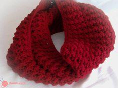 Cuello infinito rojo Granate (7)Ganchillo