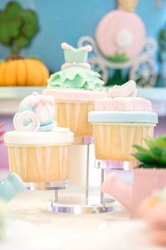 Take a look at this precious Cinderella-themed 1st birthday party! The cupcakes are wonderful! See more party ideas and share yours at CatchMyParty.com  #catchmyparty #partyideas #cinderella #cinderellaparty #princessparty #princess #girlbirthdayparty #cupcakes