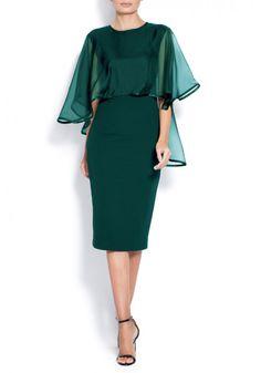 Midi crepe dress with veil Subtle luxury details. Contemporary and elegant dress. Crepe Dress, Peplum Dress, Anna Dress, Veil, Blue Dresses, Royal Blue, Party Dress, Cold Shoulder Dress, Couture