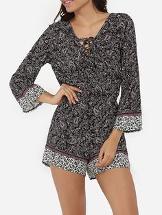 Cross Straps Loose Fitting Cotton Printed Rompers
