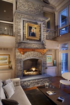 Fireplace Design Ideas, Living Room Design Stone Fireplace Wooden Fireplace Mantel — Warm up your home with an awesome stone fireplace Wooden Fireplace, Brick Fireplace Makeover, Fireplace Mantels, Fireplace Ideas, Wood Mantle, Fireplace Pictures, Mantel Shelf, Eldorado Stone, Stone Fireplace Designs