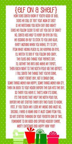 Adorable Elf on a Shelf Poem - Free print on { lilluna