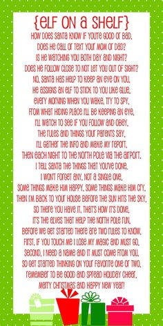 Adorable Elf on a Shelf Poem - Free print on { lilluna