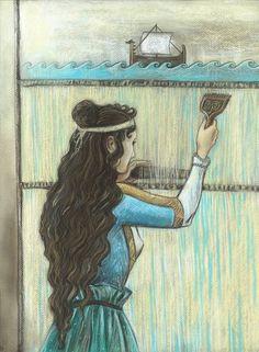Penelope (Odyssey) by MaraEmerald on DeviantArt Weak Men, Trojan War, Great Paintings, Beautiful Stories, Ancient Greece, Greek Mythology, Low Key, Female Characters, True Love