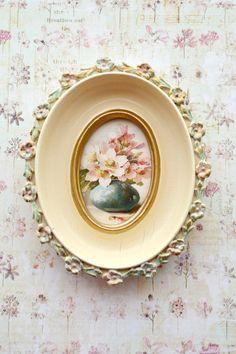 Beautiful Vintage Cream Barbola Picture Frame by Jenneliserose