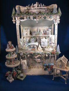 Karin Corbin Miniatures: Miniature Christmas Display and Peddler's Cart-what a beautiful display Christmas Market Stall, Christmas Town, Christmas Minis, Pink Christmas, Vintage Christmas, Christmas Crafts, Christmas Stuff, Handmade Christmas, Christmas Ornament