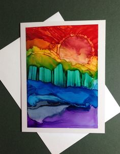 Hand painted greeting card  Alcohol ink on by KCsCornerGallery, $10.00