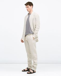 Image 1 of Linen drawstring trousers from Zara