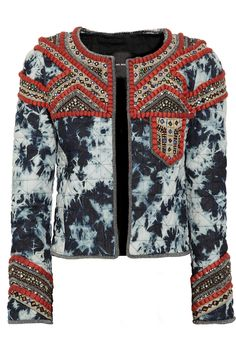 Isabel Marant embellished tie-dye quilted denim jacket.