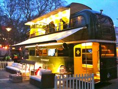Double Decker food truck. ..The Roseberry bus/ a moving bar and restaurant.