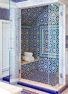 Blue Moroccan Mosaic Tile Bathroom Moroccan bathroom decor Spanish style home . bathroom blue decor hom moroccan mosaic Simple bathroom ideas in the Bathroom Interior Design, Bathroom Styling, Interior Design Tips, Design Ideas, Restroom Design, Bad Inspiration, Bathroom Inspiration, Cape Cod Bathroom, Shower Bathroom