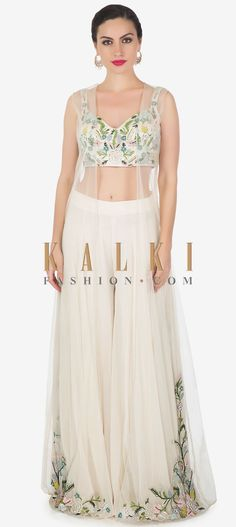 Buy Online from the link below. We ship worldwide (Free Shipping over US$100)  Click Anywhere to Tag Off White Net Georgette Farara and Jacket, Blouse Set with Zardosi and French Knot Only on Kalki Western Dresses, Indian Dresses, Draped Skirt, Wedding Looks, Indian Fashion, Women's Fashion, Jacket Dress, Designer Wear, Indian Wear