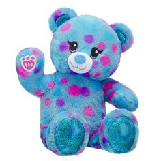 Blue Polka Dot Teddy Bear Plush | Shop Online at Build-A-Bear® Summer Memories, Build A Bear, Party Stores, Blue Polka Dots, Snuggles, Smiley, Teddy Bear, Workshop, Etsy