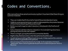 Perfume codes and conventions