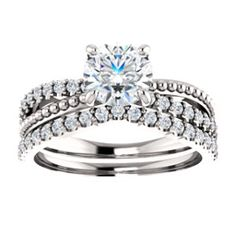 14kt White 6.5mm Round Beaded Engagement Ring Mounting   Locate a jeweler near you: http://www.stuller.com/locateajeweler/