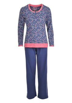 Pastunette Navy Floral Print Pyjama Set. Available to purchase online www.mcelhinneys.com