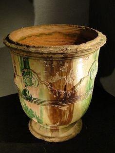 Vase d'Anduze en terre cuite vernissée XIXe, France.