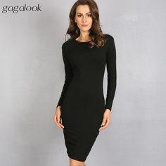gagalook Bodycon Winter Dress Women Office Work Long Sleeve Sexy Black Midi Dress Robe D0746