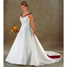 Beautiful White Red V Neck Wedding Gowns Dresses with Color Petite-Plus Size SKU-118123